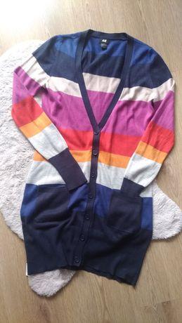 Rozpinany, kolorowy długi sweter/sukienka H&M
