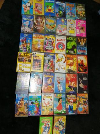 38 Cassetes de video VHS para crianças - 2€/cada. Pack das 37 = 55€