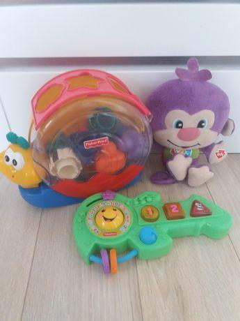 Zestaw Fisher Price! Małpka interaktywna, ślimak i gitara!