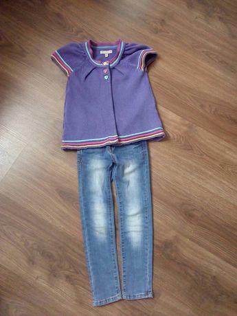 Класные джинсы скинни и жилетка на 4-5лет.
