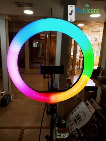Ring light 32cm rgb colorido + tripé 2.10m regulável - loja lisboa/odv
