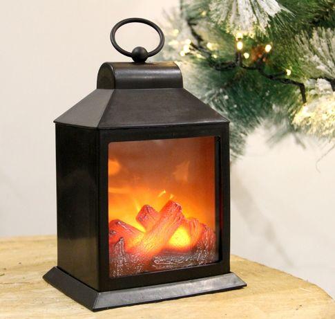 KOMINEK LAMPION LED imitacja płomieni ognia wys. 25cm na baterie