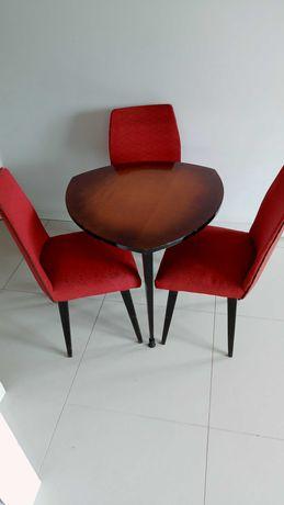 Komplet PRL stolik i 3 krzesla, unikat