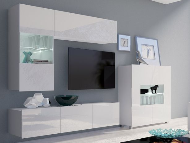 MEBLOŚCIANKA CORONA V nowoczesne meble salonowe wysoki połysk kolory