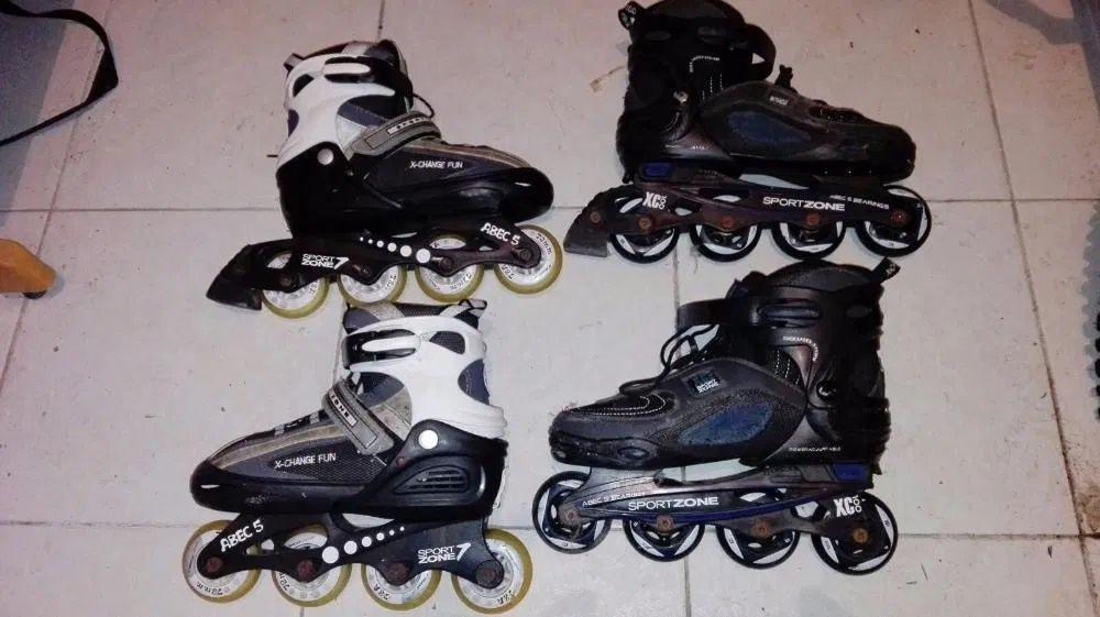 2 Pares patins , 2 capacetes e acessórios Madalena - imagem 1