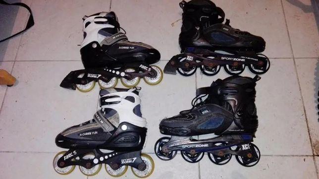 2 Pares patins , 2 capacetes e acessórios