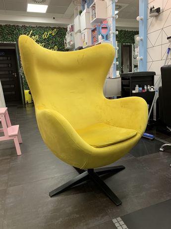 Fotel Jajo żółty bujany Premium