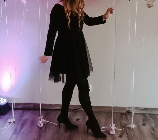 Czarna sukienka mosquito M L koronka na ramiona wesele nie lou