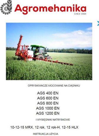 Instrukcja obsługi opryskiwacza AGS 400, 600, 800, 1000, 1200
