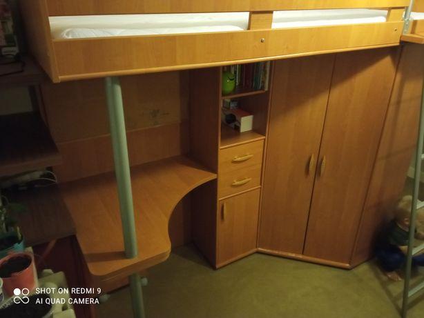 REZERWACJA Łóżko piętrowe z materacem + szafa + biurko