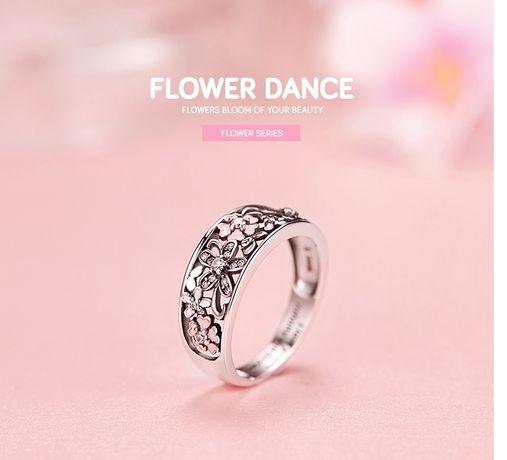 srebrny pierścionek, cyrkonie, kwiaty, srebro S925