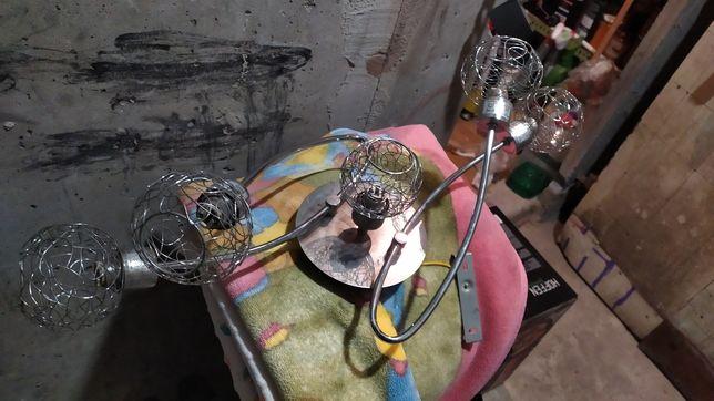 Żyrandol koszyczek pleciony na 5 świateł żarówka g9