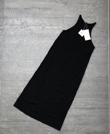 Czarna długa sukienka z dekoltem Halter Zara rozmiar S classic