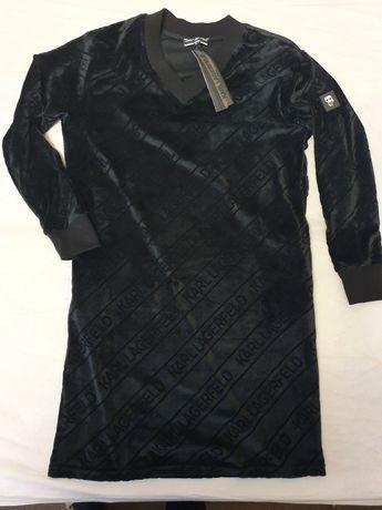 NOWA sukienka Karl Lagerfeld 42 XL czarna welurowa piękna rozciąga się
