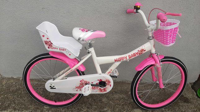 Rower 20 happy baby koszyk fotelik dla lalek kask dla dziewczynki !