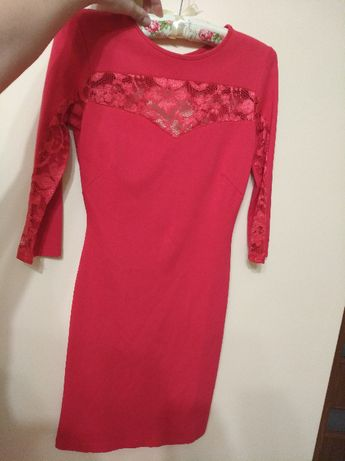 Seksowna sukienka mini ,malinowa /czerwona, roz. S.
