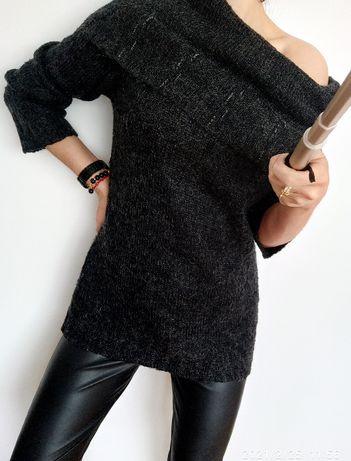 damski grafitowy sweter z golfem rozmiar M-L-XL