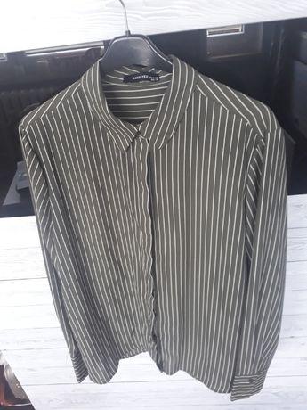 koszula zielona khaki Reserved 38 paski zielono-białe