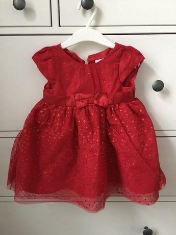 Sukienka dla dziewczynki czerwona święta r.74
