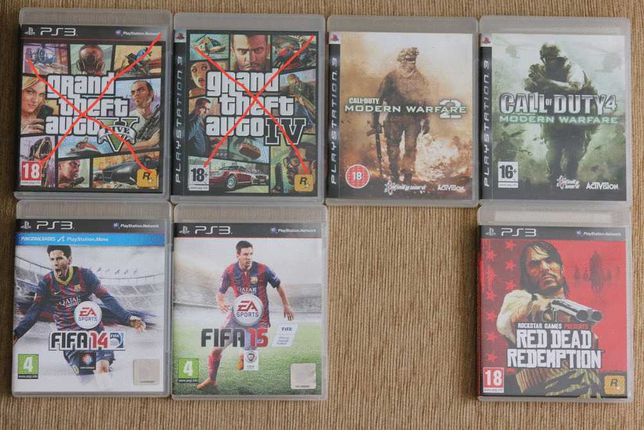 Jogos PS3 - COD MW2, COD4 MW, FIFA 14, FIFA 15, Read Dead