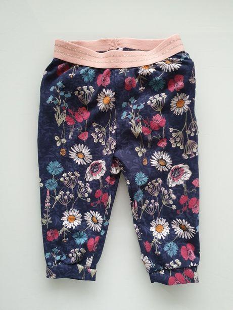 Śliczne spodnie dziewczęce wiosenne w kwiatki falbanki 68 cm!