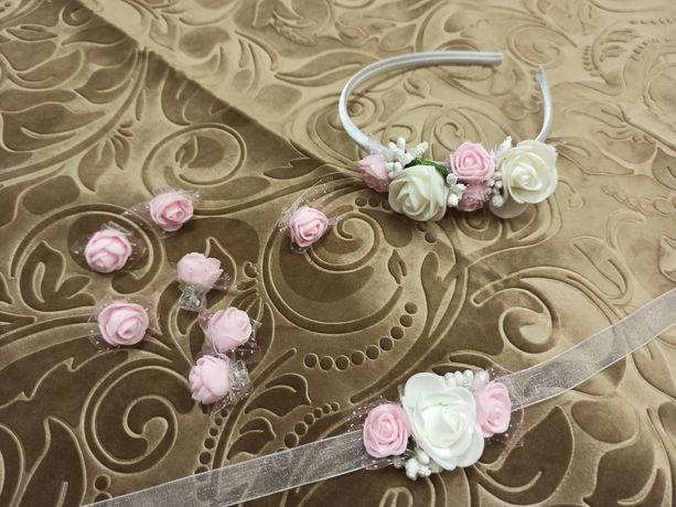 Opaska biało-różowa, bransoletka, spinki do włosów