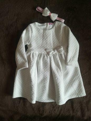 Sukienka biała+opaska chrzest, roczek 86
