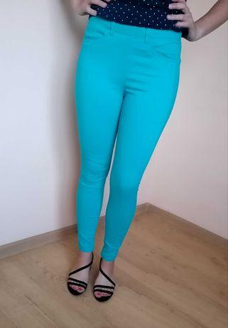 Morskie spodnie H&M zapinane na zamek z tyłu, rozmiar 34