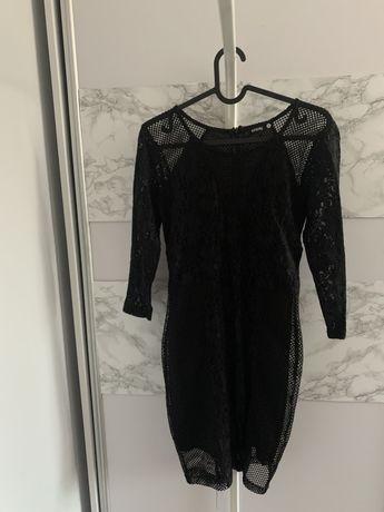 Sukienka nowa czarna dopasowana z koronka koronkowa XS S M 34 36 38 hm