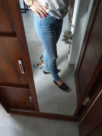 Spodnie jeansowe rozm 38 Orsay perelki