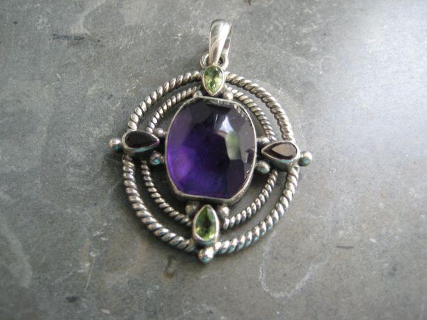 Pendente prata contrastada ametista e pedras semipreciosas(NOVO)