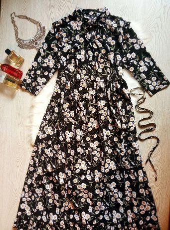 черное длинное платье в пол шифон в цветочный принт рюшами ромашки