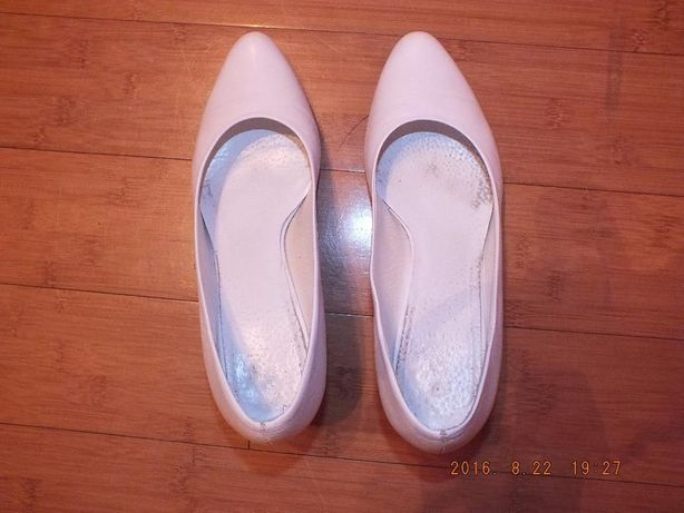 Ślubne buty białe 38 obcas 6 cm