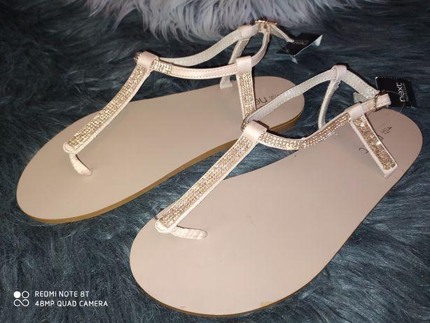 HIT! Nowe sandały Next rozmiar 37 złote cyrkonie śliczne buciki metka