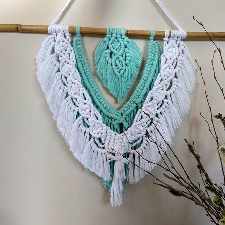 Makrama ręcznie pleciona, sznurki, biała miętowa(hand made, styl Boho)