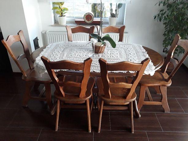 Stół dębowy+6 krzeseł, lite drewno!!!