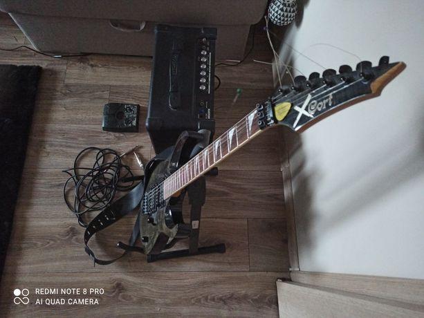 PILNE! Gitara Cort X-11, wzmacniacz Kustom, efekt