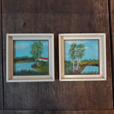 Stare obrazki olejne w drewnianej ramce, 1985, jezioro, drzewa