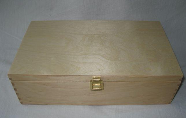 Pudełko skrzynka na dwa wina drewniane, zwymiarowane 34,5 x 20 x 10