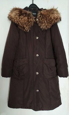 Курточка, куртка зимняя, пальто, пуховик с мехом, темная, 44, б/у
