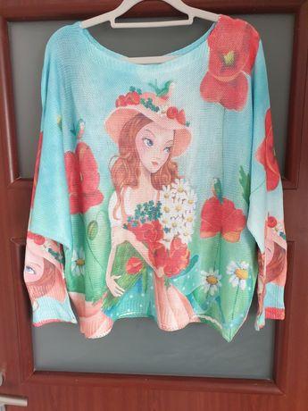 Cienki sweter  bluzka dziewczęca L / XL