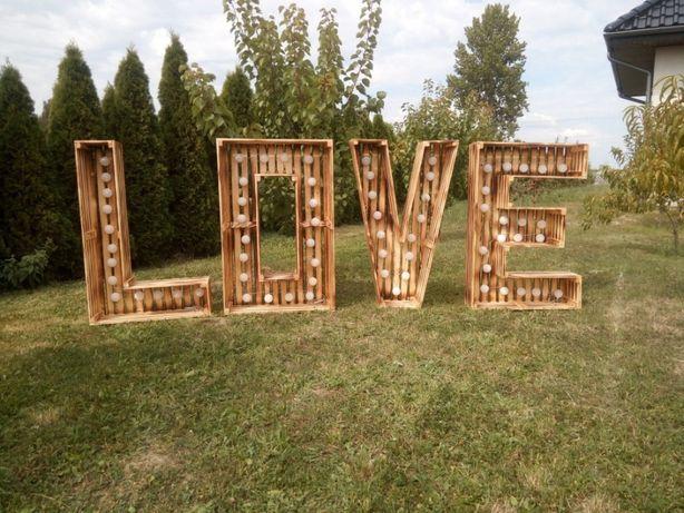 Napis Drewniane LOVE wynajem ślub sesja zdjęciowa