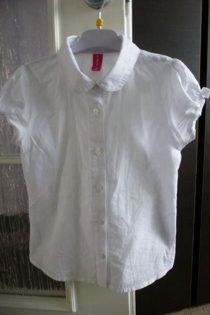 Koszula dziewczęca 51015 biała z kołnierzykiem rozm. 122