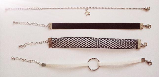 Bransoletka x5 zestaw zapinane welurowa, siateczka, gwiazdka, kółko