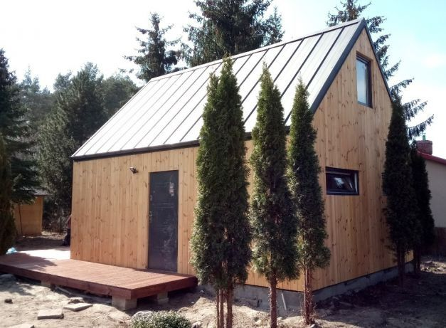 Domek letniskowy 35m, stodoła, dom szkieletowy z drewna