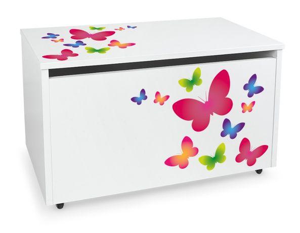 Duża drewniana skrzynia na zabawki XXL na kółkach Motyw: Motyle