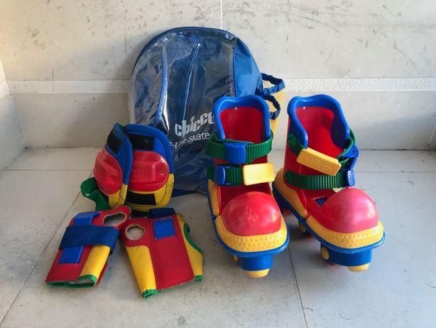 Patins de criança extensíveis + joelheiras + mala da Chicco