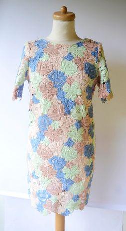 Sukienka M 38 NOWA Koronkowa Koronka Kolorowa Elegancka Zara Reserved