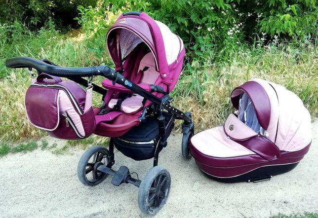 Розовая коляска, детская коляска 2 в 1 / дитячий рожевий візок 2 в 1