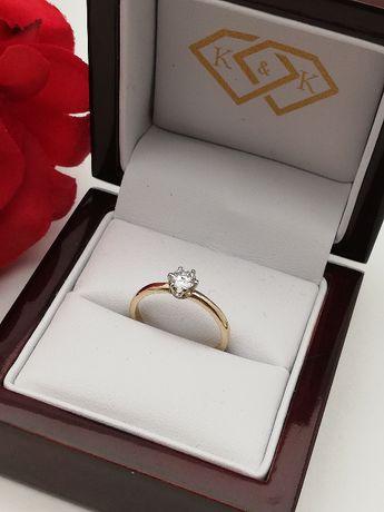 Nowy Złoty Pierścionek z brylantem 0,34ct Złoto 585 Sklep K&K Łódź